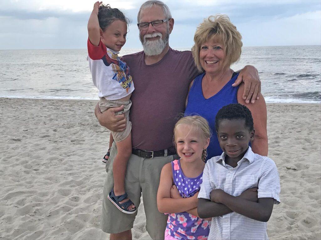 Grandma, Pop-Pop and grandkids at the beach