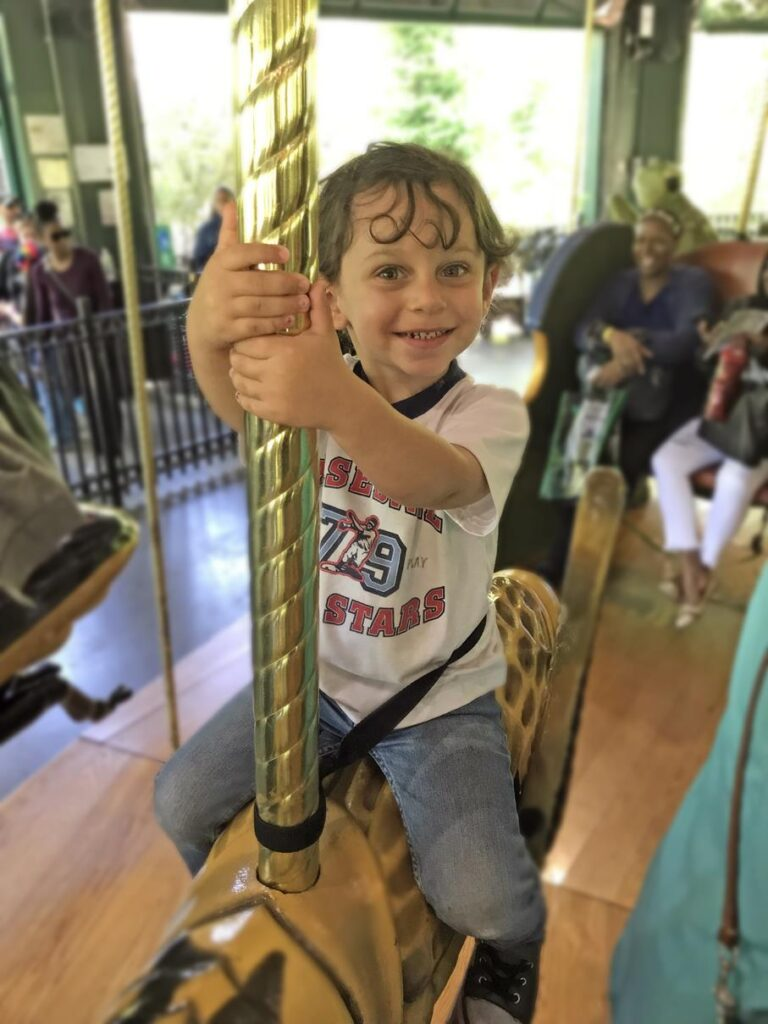 Levi riding the carousel at the zoo