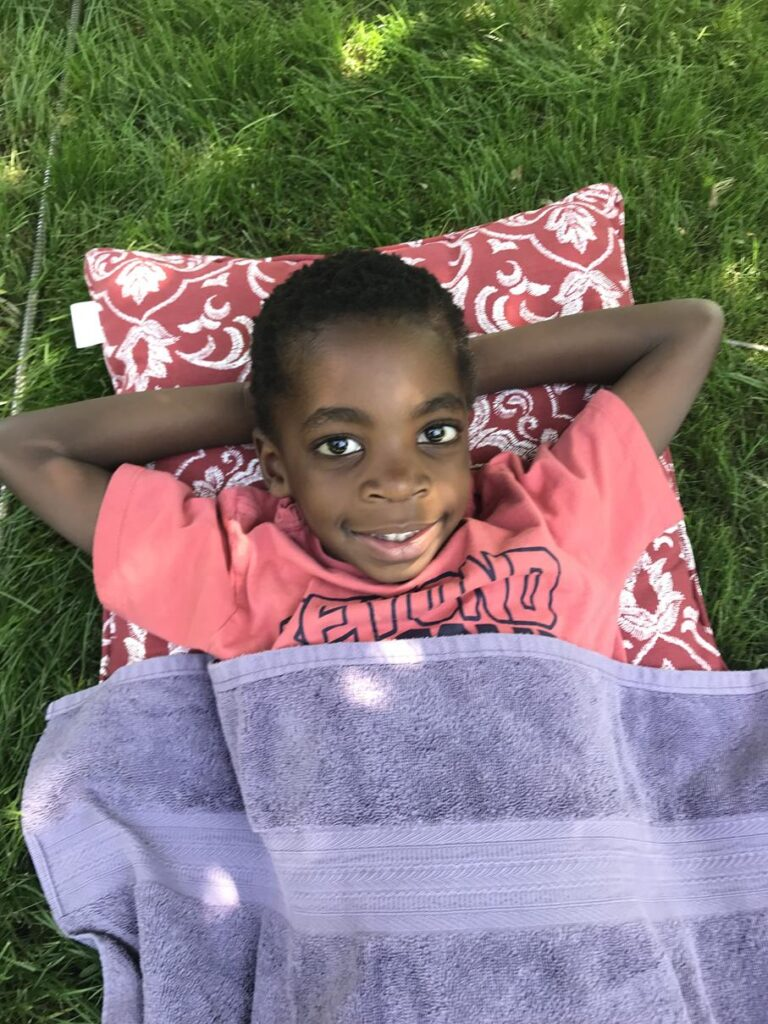 Jude relaxing on a summer day despite seldom being still