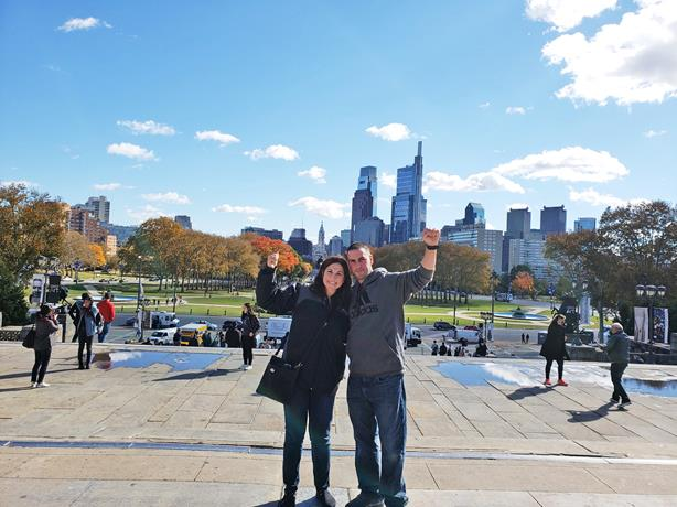 WE MADE IT TO THE TOP OF THE ROCKY STEPS IN PHILIDELPHIA