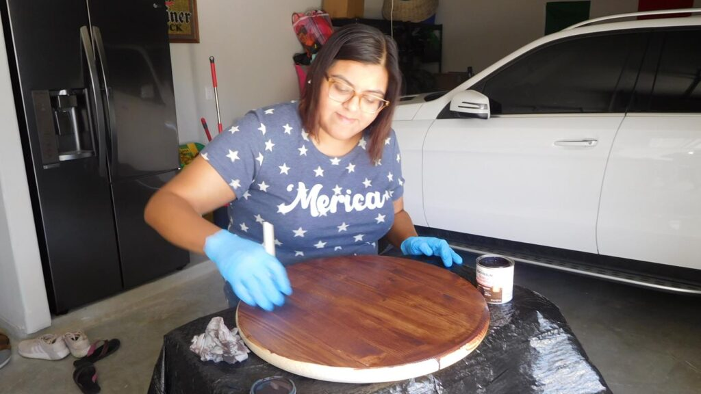 Staining a wood working project