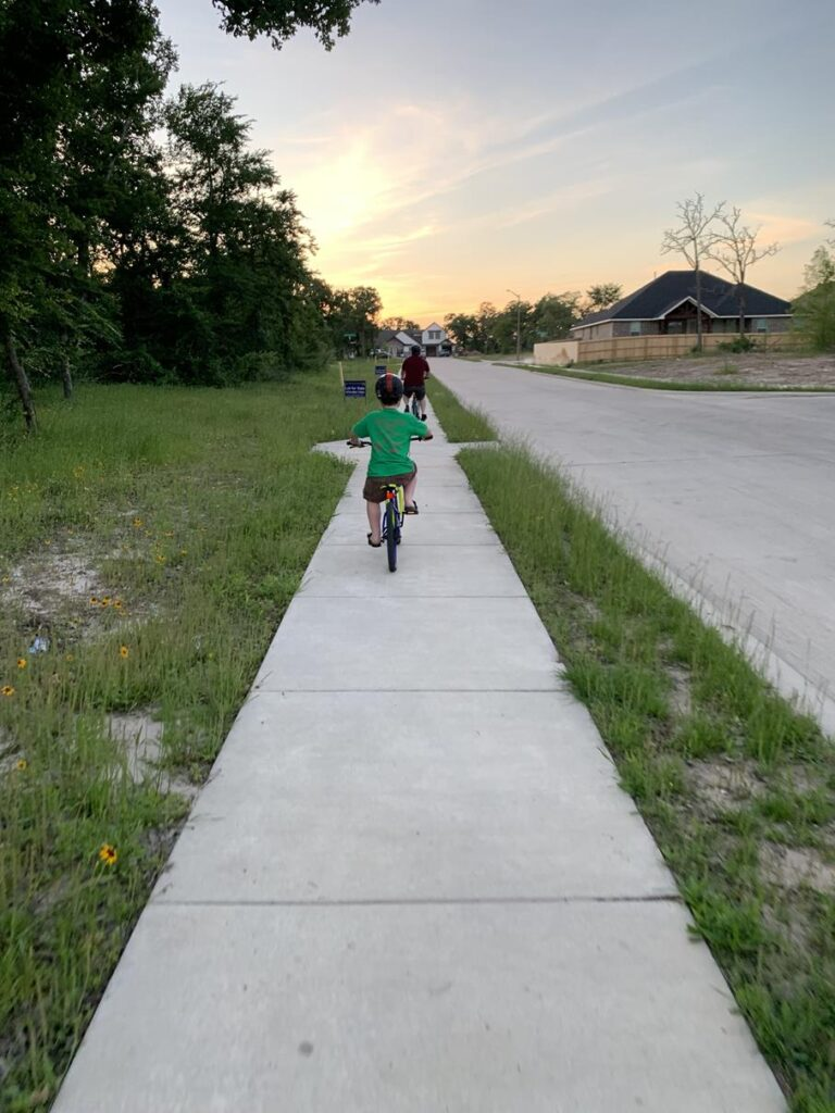 Riding bikes in our neighborhood
