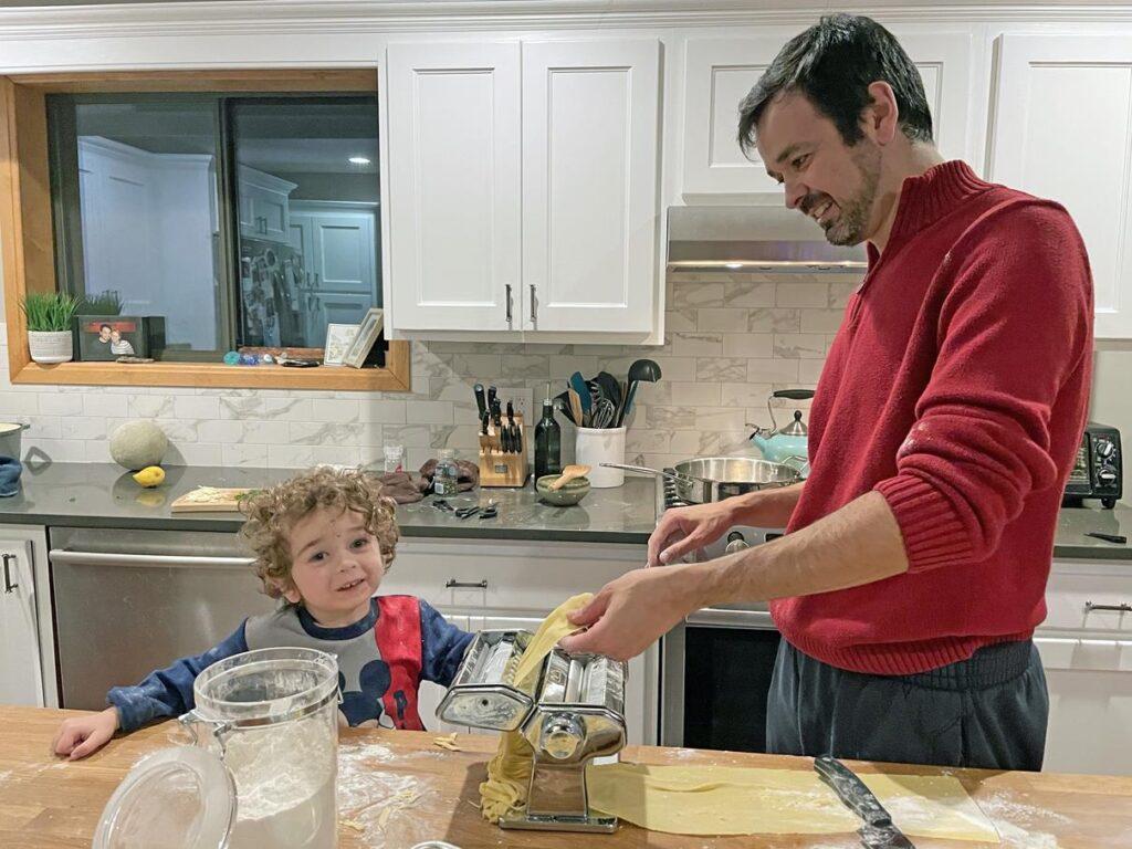 HOMEMADE PASTA NIGHT - LEVI LOVES HELPING DADDY