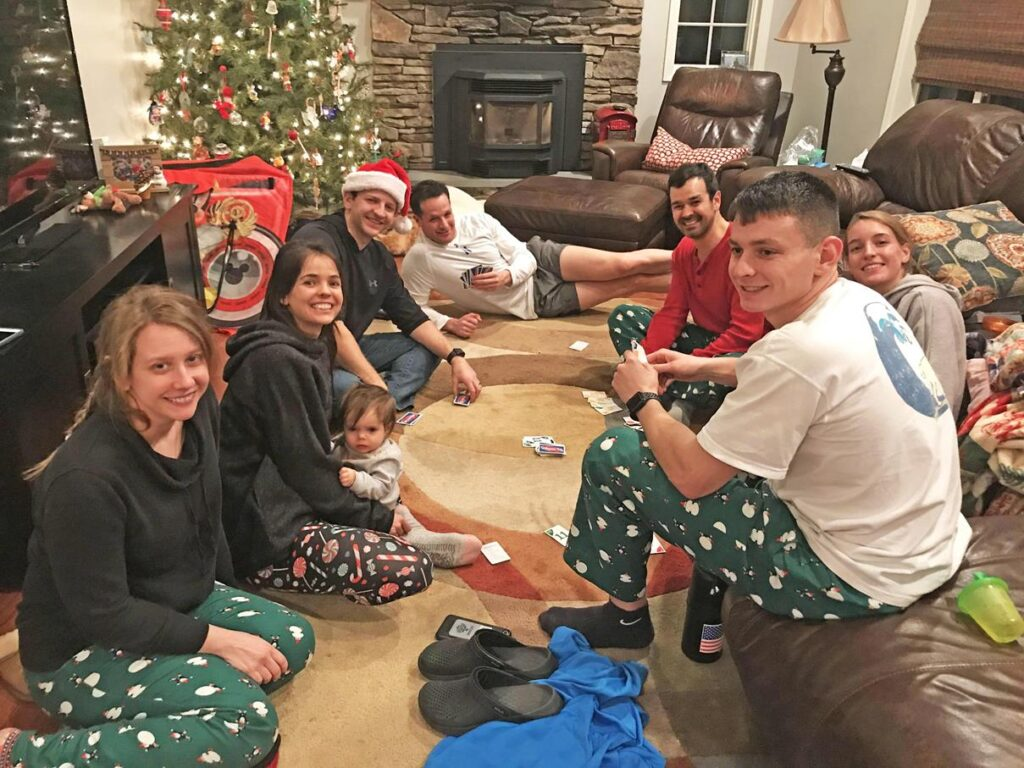 PLAYING GAMES IN MATCHING JAMMIES ON CHRISTMAS