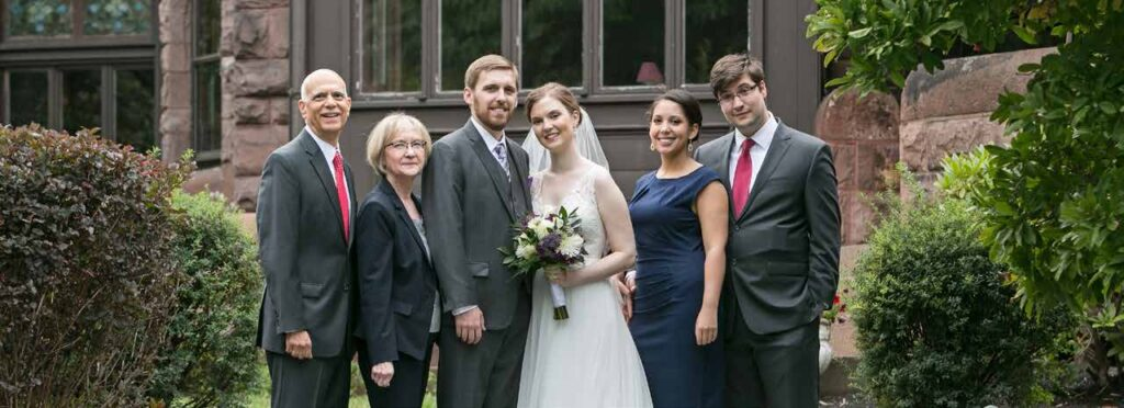 With Sarah's family at our wedding
