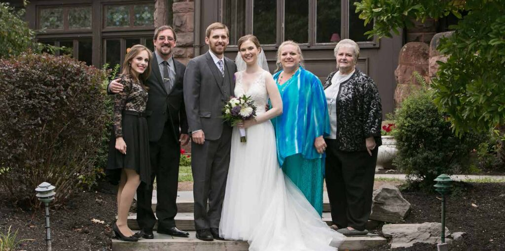 With Andrew's family at our wedding